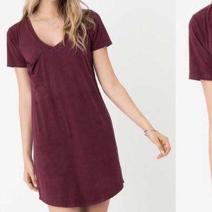 Z Supply Burgundy V-neck suede dress